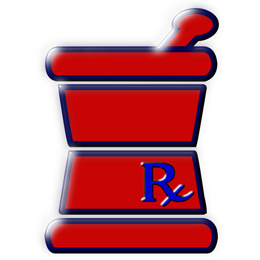 Blue rx mortar pestle compounding symbol