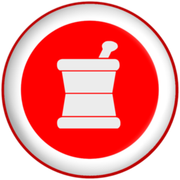 256x256 Mortar pestle pharmacy symbol red button