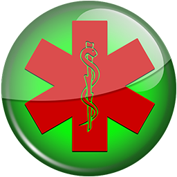 256x256 Red star of life green button