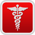 white caduceus red box